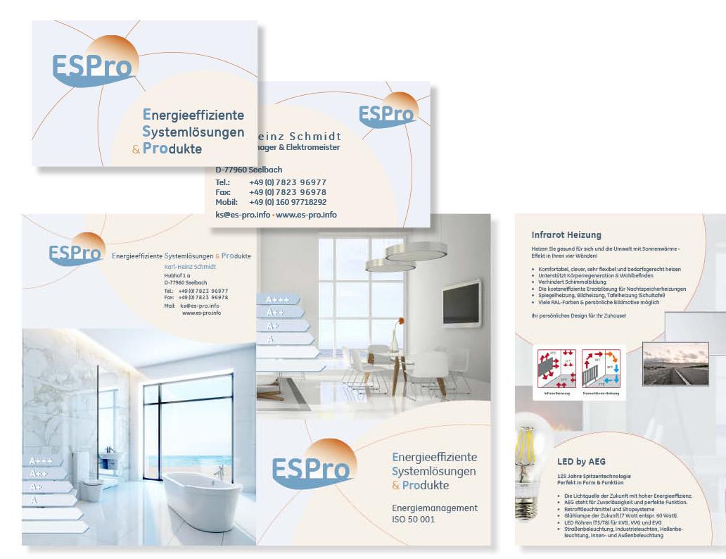 web-und grafikdesign katrin birke, bollschweil/ freiburg, referenz logo und printprodukte: logogestaltung, visitenkarte, briefpapier, flyer, präsentationsmappe für espro - k.h. schmidt