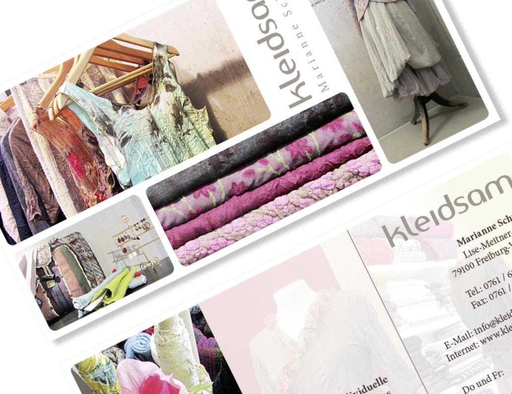 web-und grafikdesign katrin birke, bollschweil/ freiburg, referenz printprodukte: flyer für atelier kleidsam
