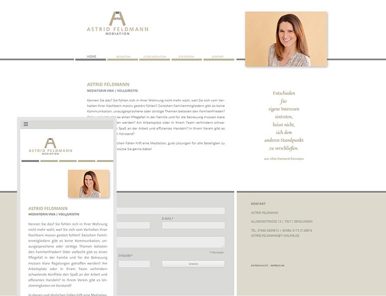 web-und grafikdesign katrin birke, bollschweil/ freiburg, referenz website-erstellung: astrid feldmann, mediation