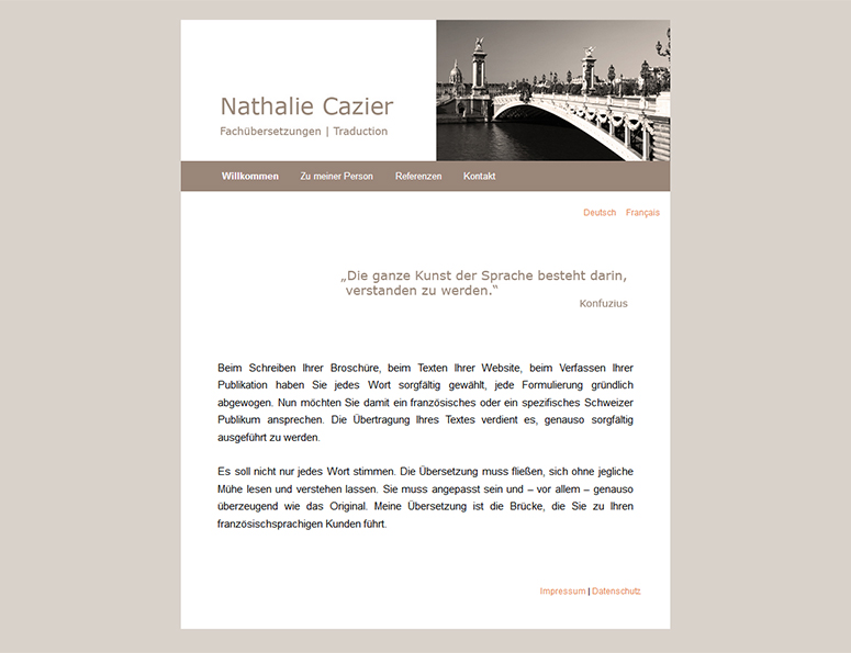 web-und grafikdesign katrin birke, bollschweil/ freiburg, referenz website-erstellung: fachübersetzungen nathalie cazier