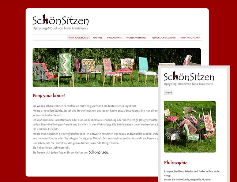 web-und grafikdesign katrin birke, bollschweil/ freiburg, referenz website-erstellung: schön sitzen, upcyclingmöbel aus staufen