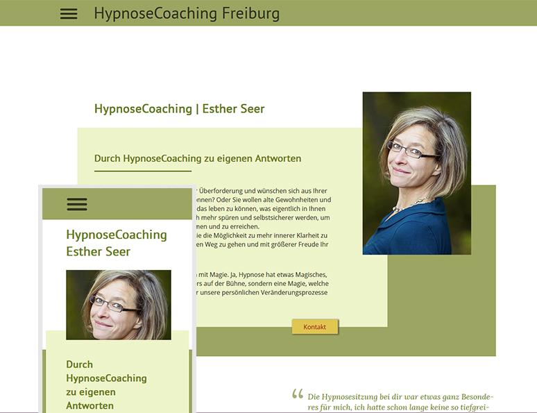 web-und grafikdesign katrin birke, bollschweil/ freiburg, referenz website-erstellung: hypnosecoaching Freiburg < esther seer