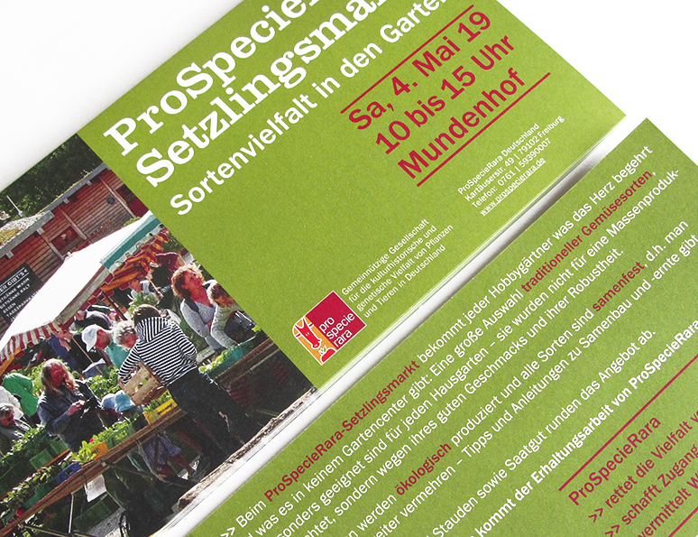 web-und grafikdesign katrin birke, bollschweil/ freiburg, referenz printprodukte: flyer für prospecierara, setzlingsmarkt 2017