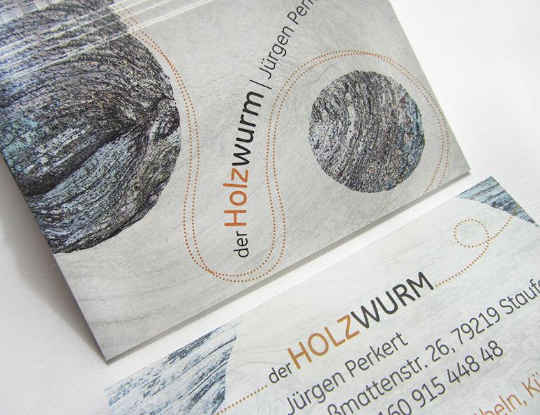 webdesign und grafik  katrin birke, bollschweil/ freiburg, referenz visitenkartengestaltung der holzwurm juergen perkert
