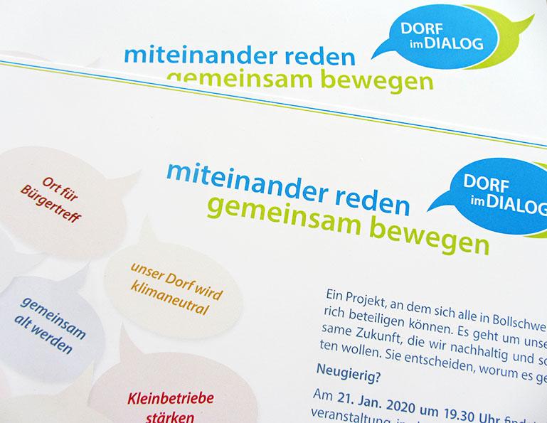 webdesign und grafik birke | glaser, bollschweil bei freiburg, referenz printprodukt: Flyer, Anzeigen Dorf im Dialog Bollschweil