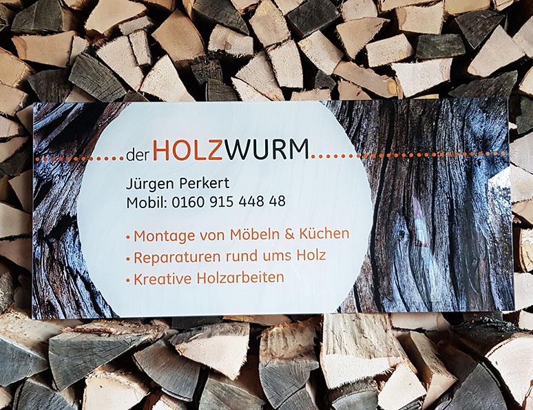 webdesign und grafik  katrin birke, bollschweil/ freiburg, acrylglasschild der holzwurm juergen perkert